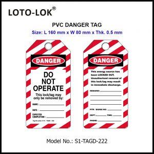 PVC DANGER TAG, LENGTH 160mm.