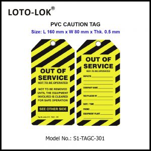 PVC CAUTION TAG, LENGTH 160mm.