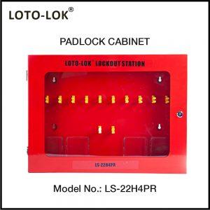 PADLOCK CABINET, 22 HOOKS + 4 TAG POCKETS (Empty Station)