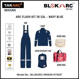 MAHAN ARC FLASH KIT (MEN), ARC RATING: 26 CAL/CM² , HRC 3 (BIB, 32″ COAT, HOOD)